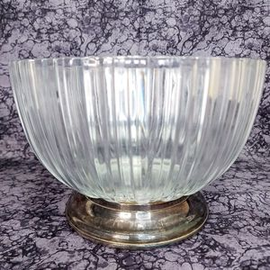 Vintage 1982 FINE salad  BOWL with  SILVER PLATE B